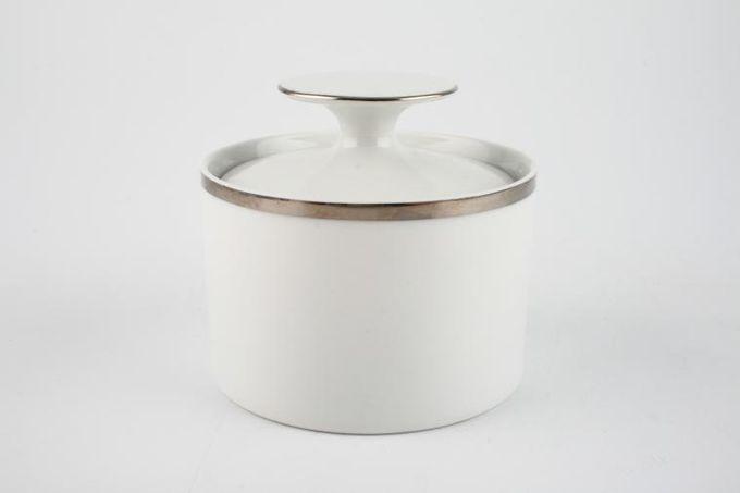 Thomas Medaillon Platinum Band - White with Thick Silver Line Sugar Bowl - Lidded (Tea)