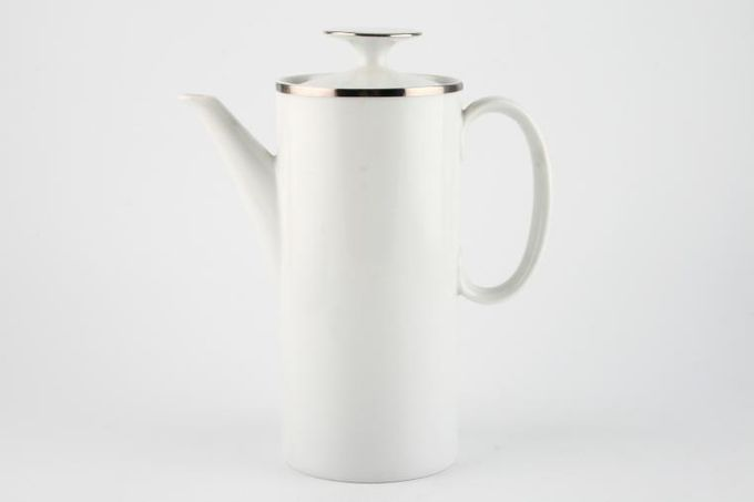 Thomas Medaillon Platinum Band - White with Thick Silver Line Coffee Pot 2pt