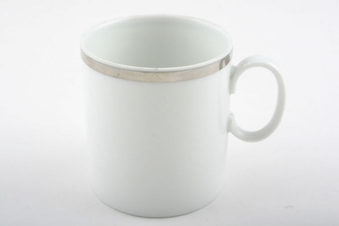 """Thomas Medaillon Platinum Band - White with Thick Silver Line Coffee/Espresso Can Cup 3 Tall 2 3/8 x 2 1/2"""""""