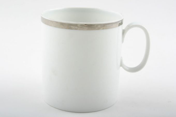 """Thomas Medaillon Platinum Band - White with Thick Silver Line Teacup Cup 5 Tall 2 3/4 x 3"""""""