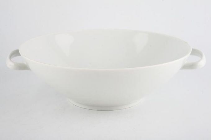 Thomas Medaillon Platinum Band - White with Thick Silver Line Vegetable Tureen Base Only Straight sided - lugged