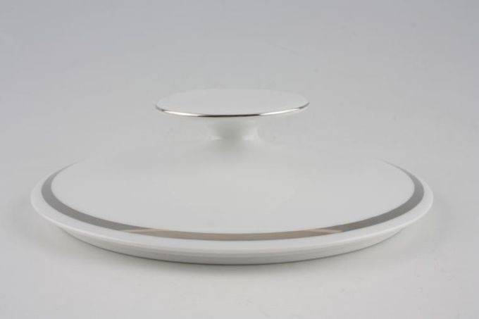 Thomas Medaillon Platinum Band - White with Thick Silver Line Vegetable Tureen Lid Only For straight sided - lugged