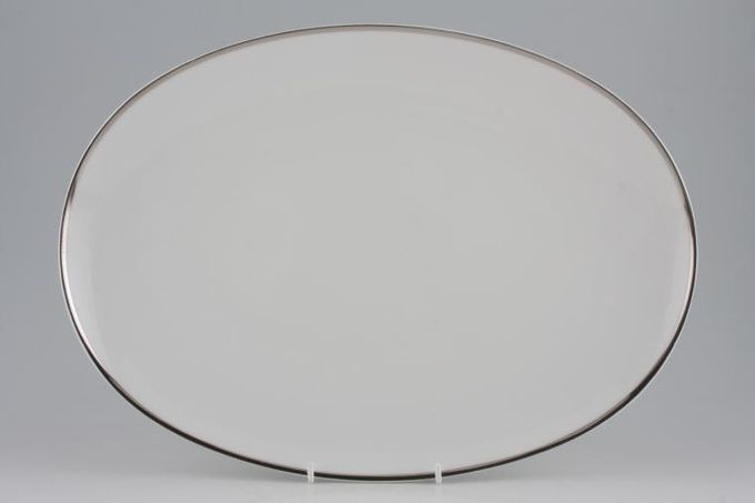 Thomas Medaillon Platinum Band - White with Thick Silver Line Oval Plate / Platter 15""