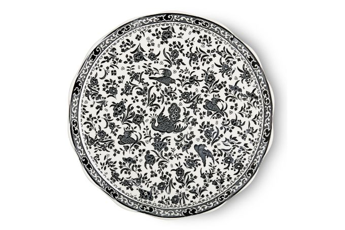 Burleigh Black Regal Peacock Cake Plate