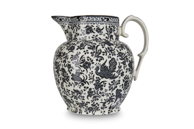 Burleigh Black Regal Peacock Jug Etruscan Jug