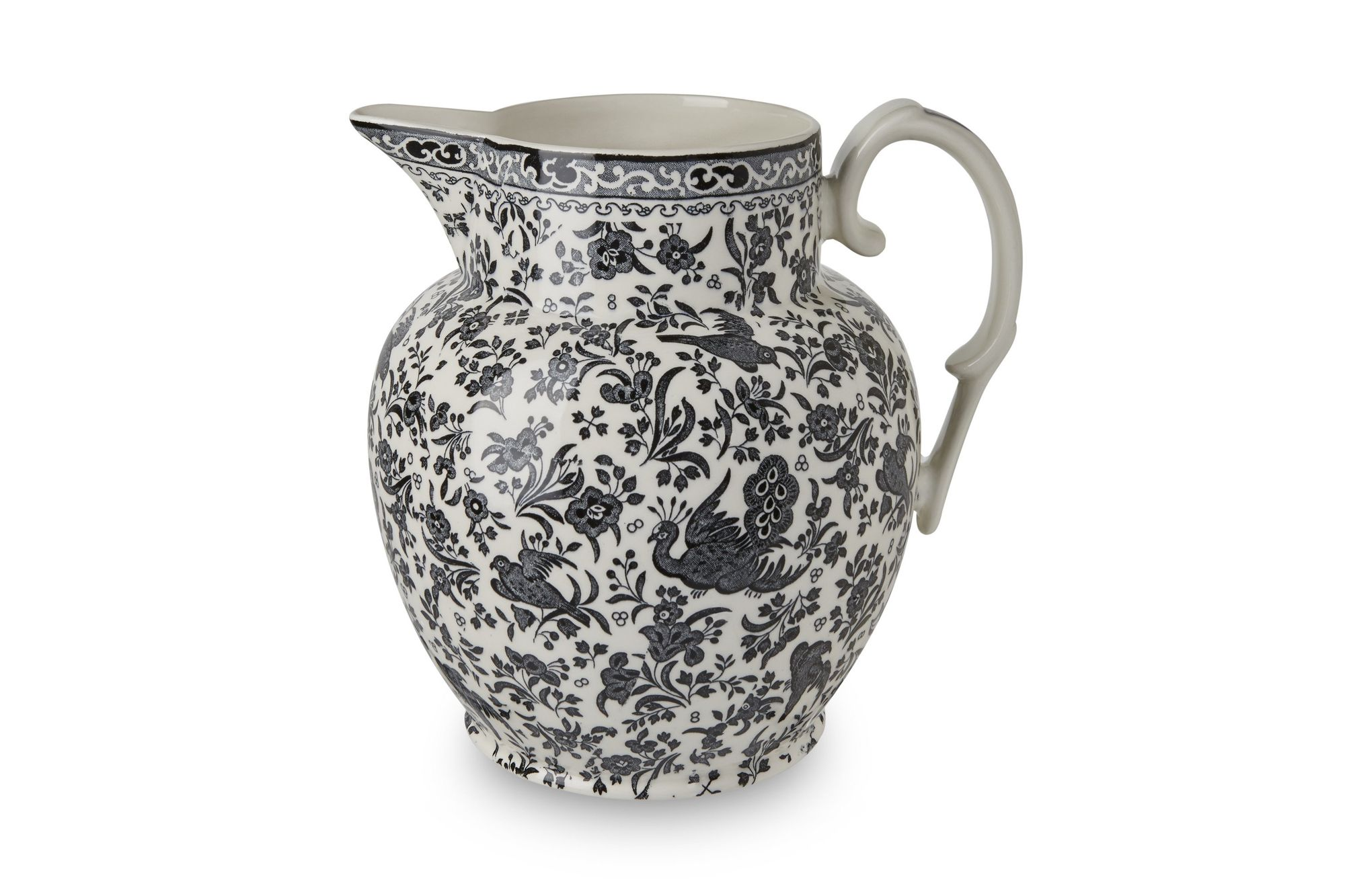 Burleigh Black Regal Peacock Jug Etruscan Jug thumb 2