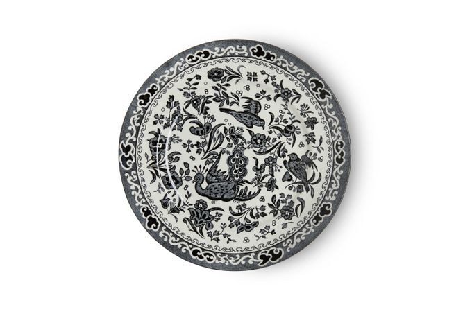 Burleigh Black Regal Peacock Tea Plate 17.5cm