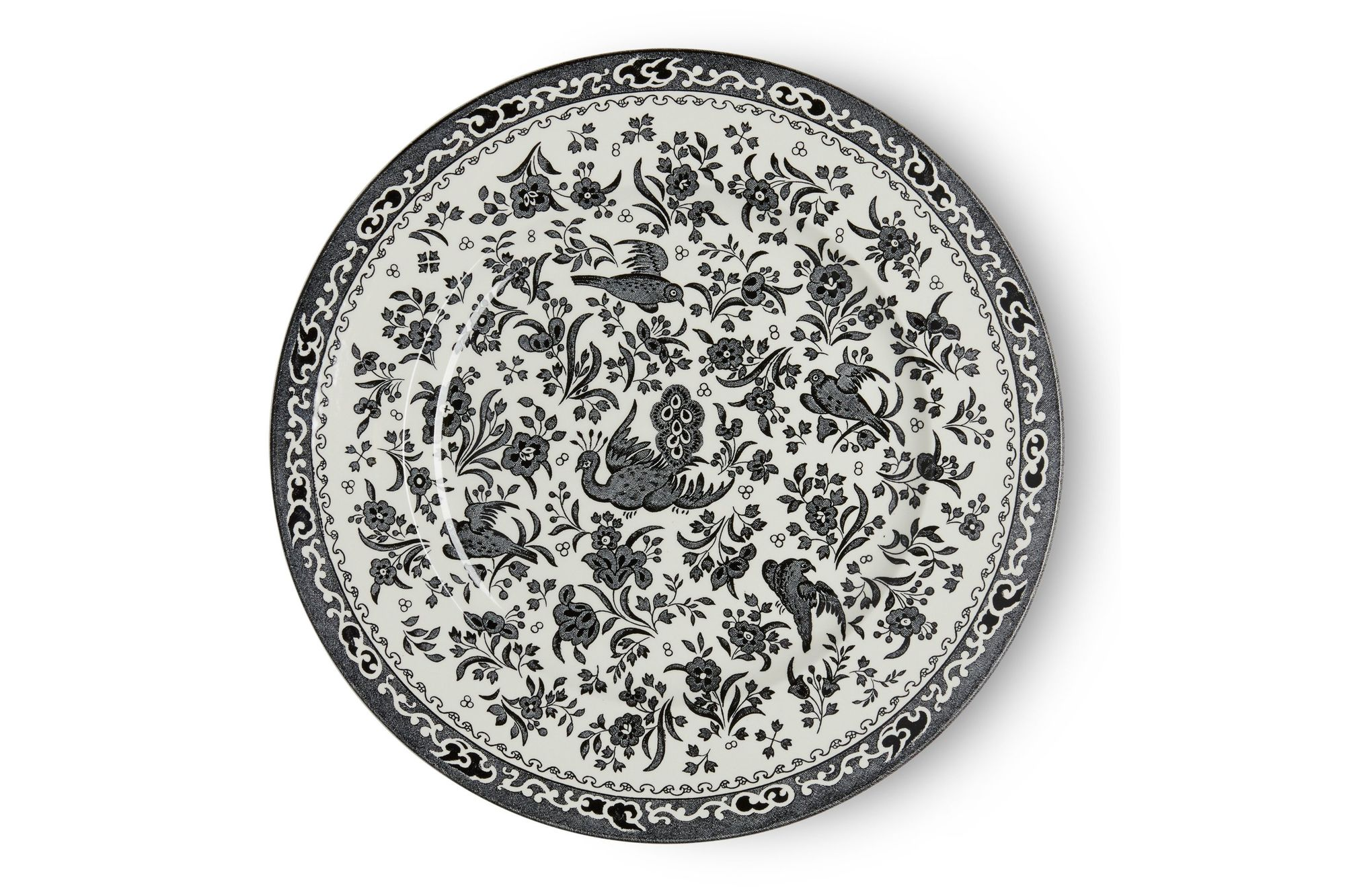 Burleigh Black Regal Peacock Dinner Plate 25cm thumb 1