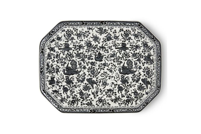 Burleigh Black Regal Peacock Platter Rectangular