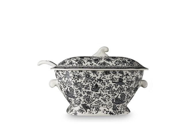 Burleigh Black Regal Peacock Soup Tureen + Lid