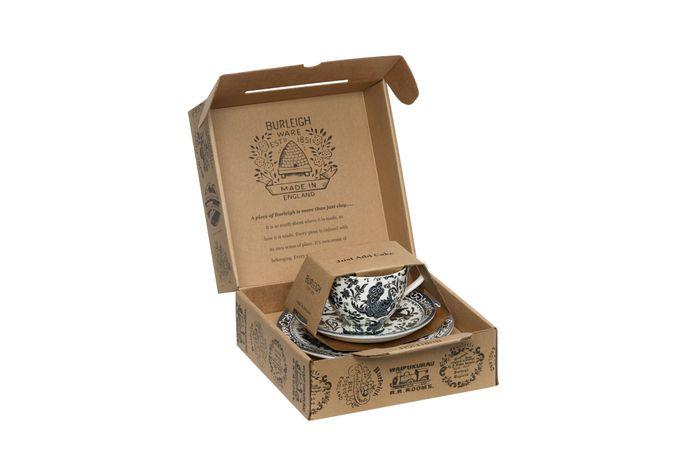 "Burleigh Black Regal Peacock Teacup Gift Set Includes Tea Cup, Tea Saucer and 7"" Plate"