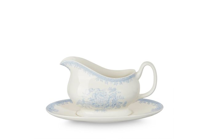Burleigh Blue Asiatic Pheasants Sauce Boat and Stand