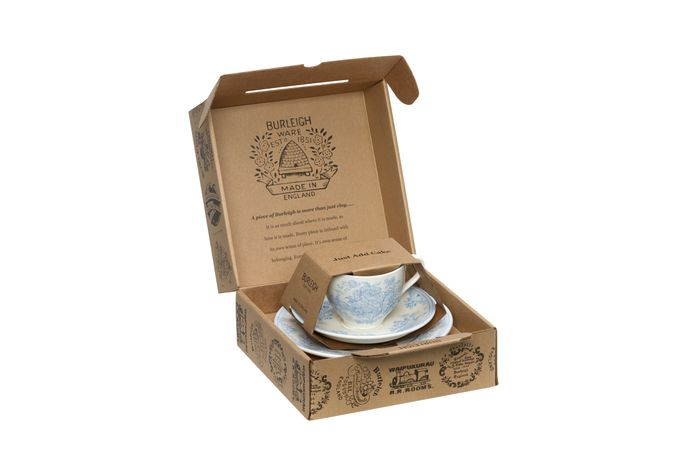 "Burleigh Blue Asiatic Pheasants Teacup Gift Set Includes Teacup, Tea Saucer and 7"" Plate"