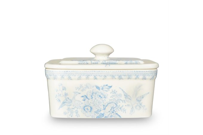 Burleigh Blue Asiatic Pheasants Butter Dish + Lid