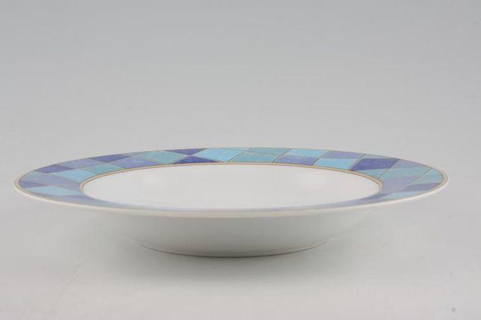 "TTC Blue Squares - Topchoice Rimmed Bowl 8 1/2"""