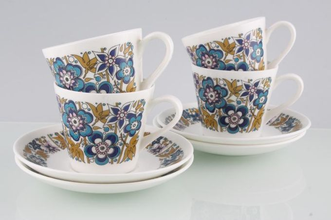 Tuscan + Royal Tuscan Nocturne Coffee Cans & Saucers - Set of 4