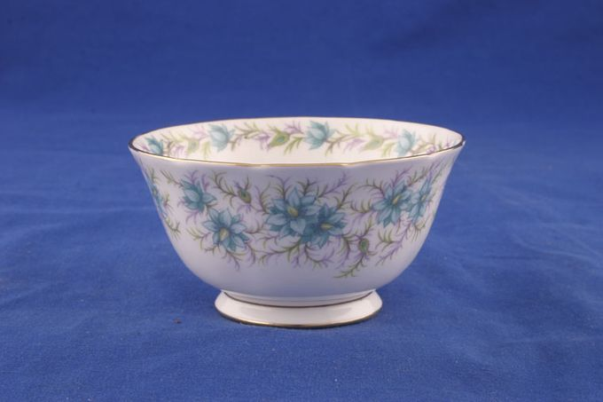 """Tuscan + Royal Tuscan Love In The Mist - white background, turquoise flowers Sugar Bowl - Open (Tea) 5"""""""