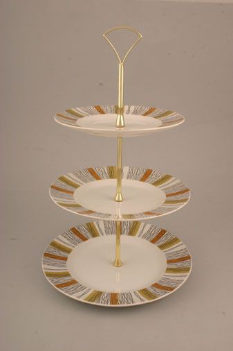 """Vintage China Cake Plates & Stands Cake Stand 244 - Midwinter Sienna. Approx.8.75"""", 8"""", 7""""."""