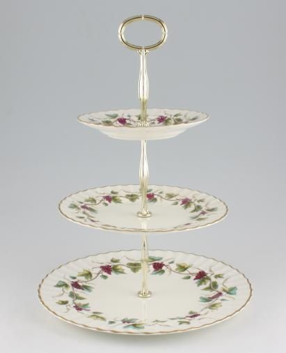 Vintage China Cake Plates & Stands Cake Stand 48 - 3 tier Royal Worcester 'Bacchanal'