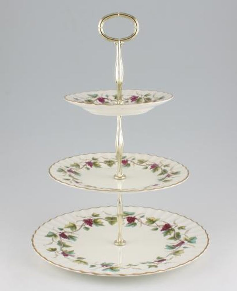 Various - Cake Stands - Cake Stand - 48 - 3 tier Royal Worcester 'Bacchanal'