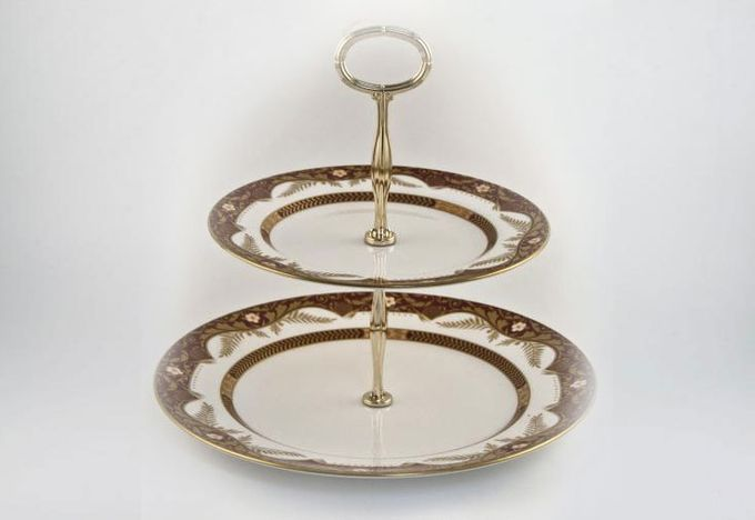 Vintage China Cake Plates & Stands Cake Stand 50 - Spode Balmoral, 2 tier with gold handle