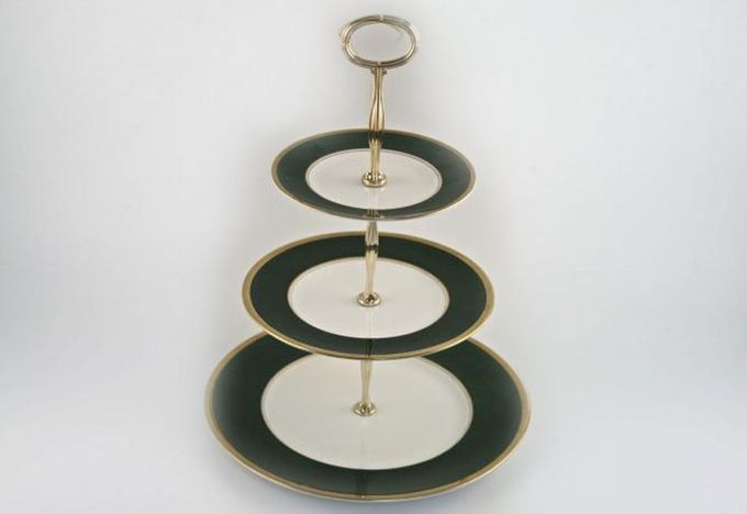 Vintage China Cake Plates & Stands Cake Stand 53 - Coalport Athlone Green, 3 tier with gold handle