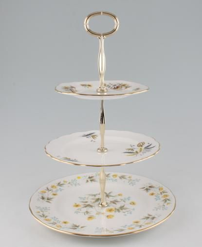 """Vintage China Cake Plates & Stands Cake Stand 86 - 3 Tier Colclough Angela, Stardust and 8255 10 1/2"""", 8"""", 6 1/4"""""""