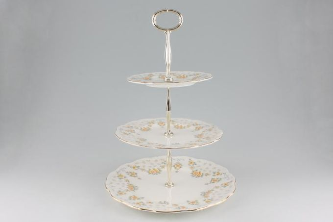 """Vintage China Cake Plates & Stands Cake Stand 105 - 3 tier Royal Albert 'Bronte' 10"""", 8"""" & 6"""""""