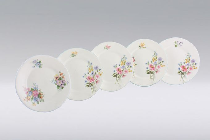 Vintage China Vintage Tea Set of Tea Plates V48 -Set of 5 tea plates Flowers might vary, made by Shelley 6""