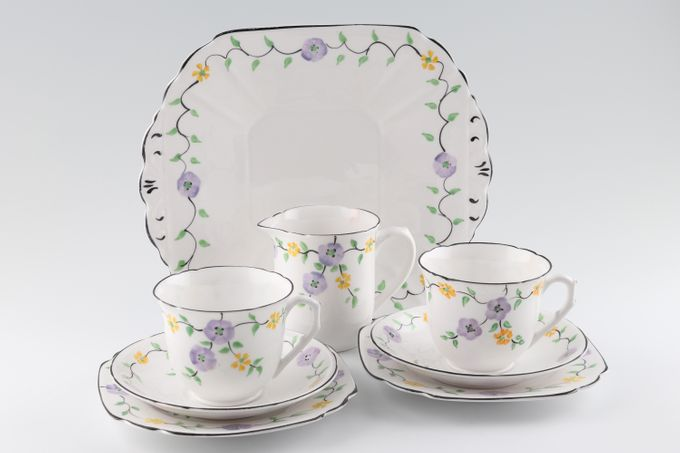 Vintage China Vintage Tea Tea Set V60 - Vintage Tea Set for 2 including Milk Jug and Cake Plate