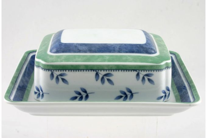 Villeroy & Boch Switch 3 - Old Style Butter Dish + Lid Lid has Leaves Pattern, Base has Wide Green and Blue Stripes