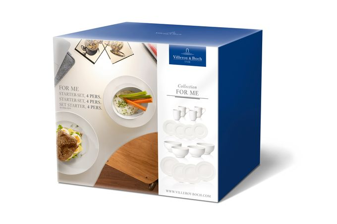 Villeroy & Boch For Me 16 Piece Set For Four, 16 Pieces - 4 Flat Plates, 4 Salad Plates, 4 Bowls, 4 Mugs