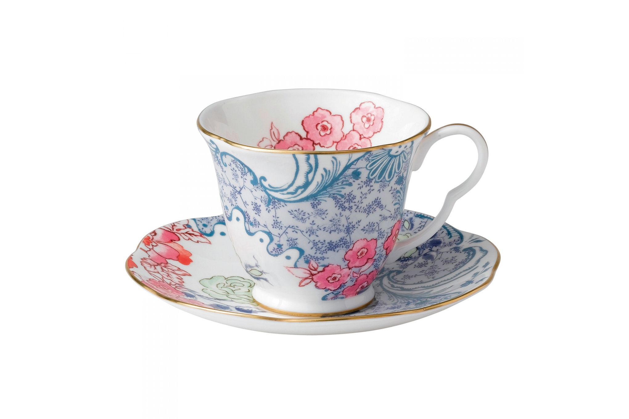 Wedgwood Butterfly Bloom Teacup & Saucer Blue and Pink thumb 1