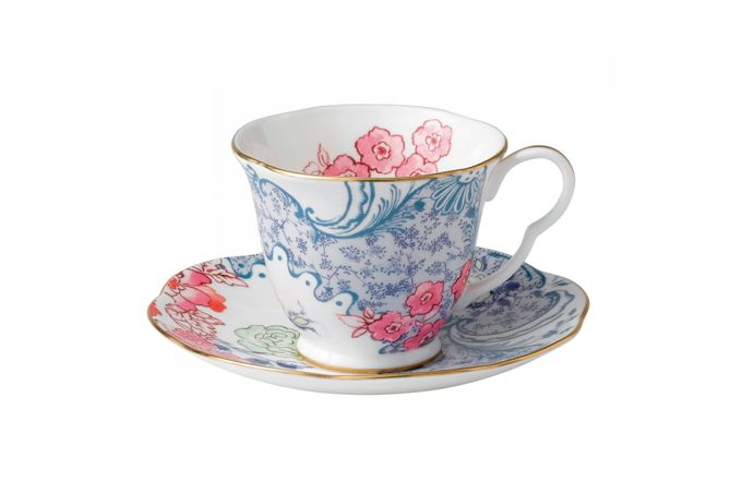 Wedgwood Butterfly Bloom Teacup & Saucer Blue and Pink