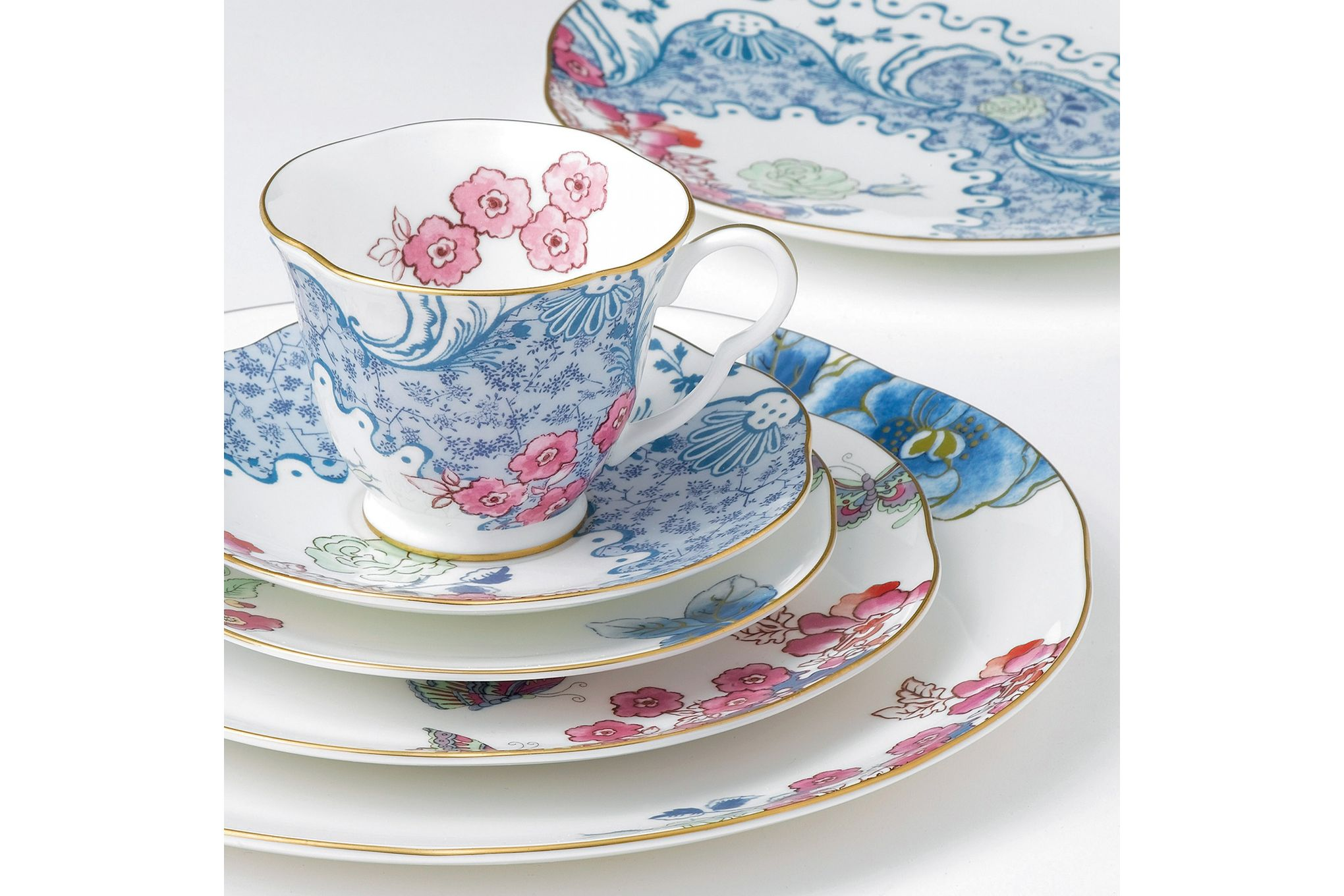 Wedgwood Butterfly Bloom Teacup & Saucer Blue and Pink thumb 2