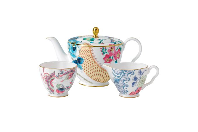 Wedgwood Butterfly Bloom Teapot, Sugar and Cream Set