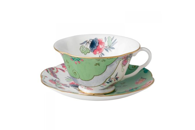 Wedgwood Butterfly Bloom Teacup & Saucer Green
