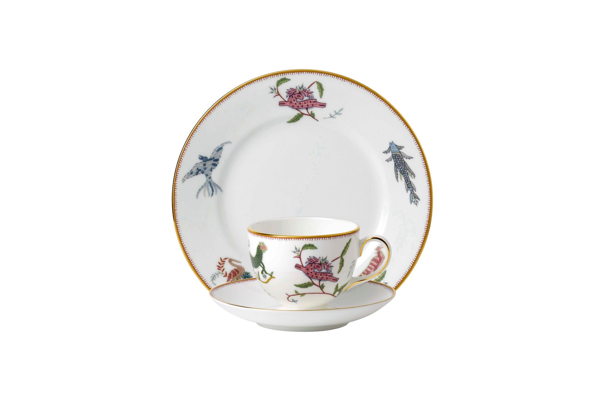 Wedgwood Mythical Creatures 3 Piece Set Teacup & Saucer, Plate Set Gift Boxed thumb 1