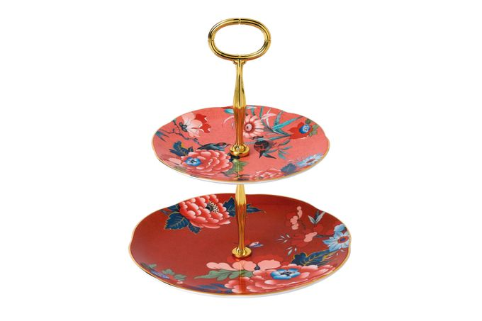Wedgwood Paeonia 2 Tier Cake Stand Coral / Red