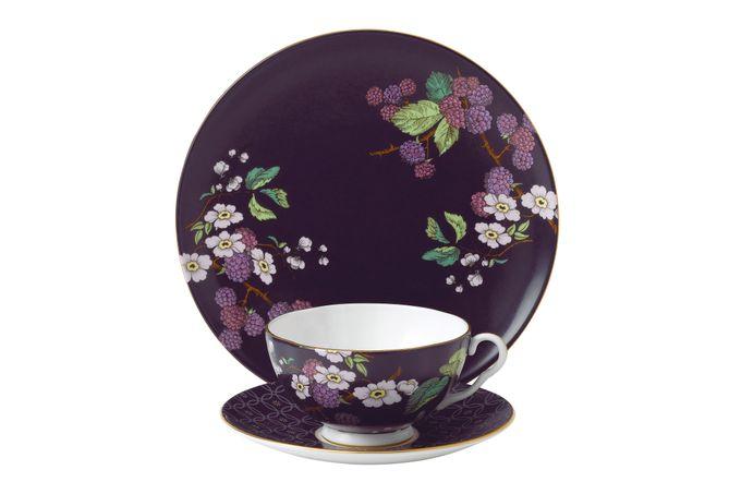 Wedgwood Tea Garden 3 Piece Set Plate 21cm, Teacup & Saucer Blackberry