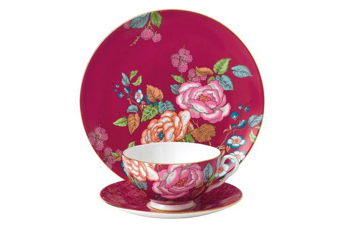 Wedgwood Tea Garden 3 Piece Set Plate 21cm, Teacup & Saucer Raspberry