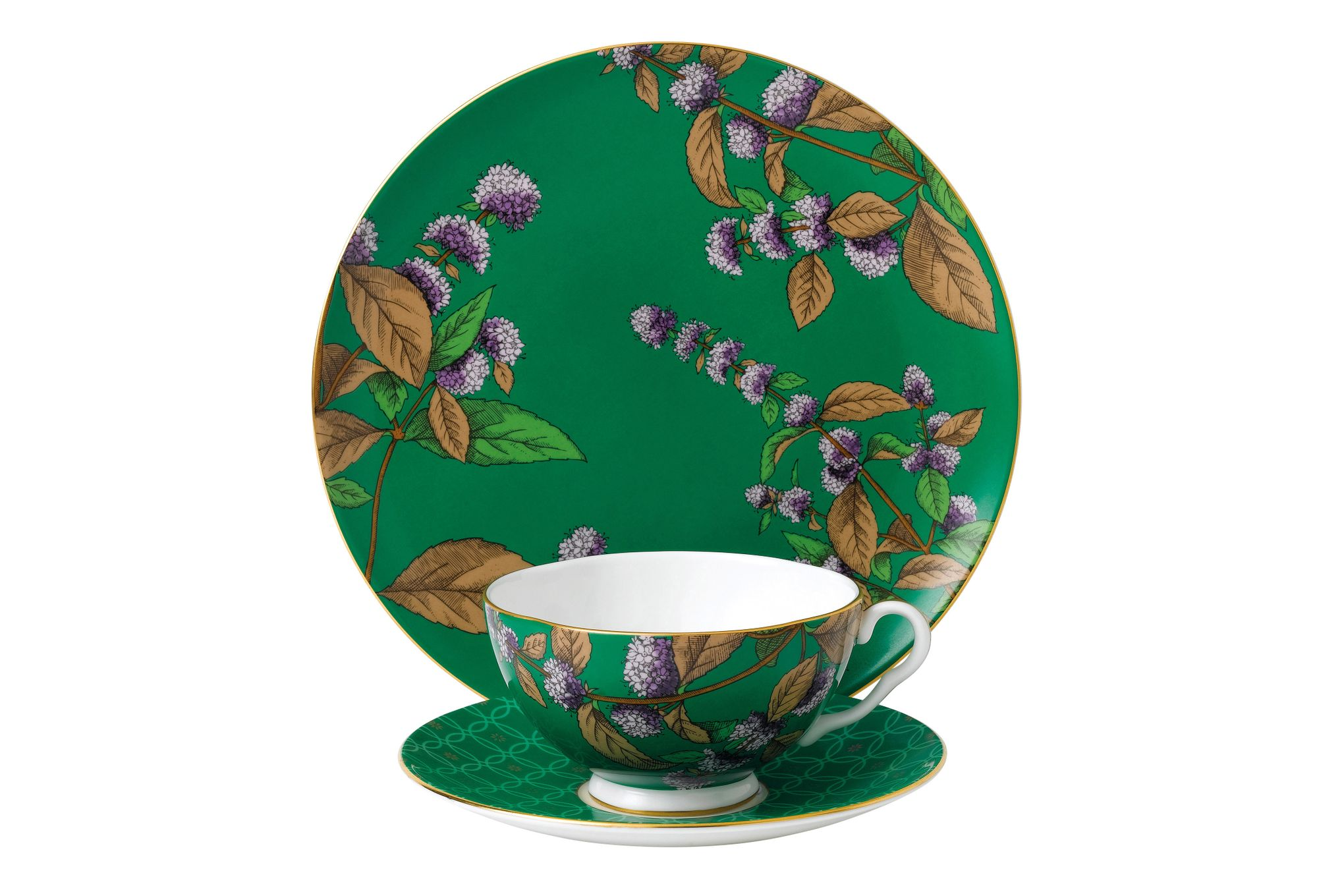 Wedgwood Tea Garden 3 Piece Set Plate 21cm, Teacup & Saucer Green Tea & Mint thumb 1
