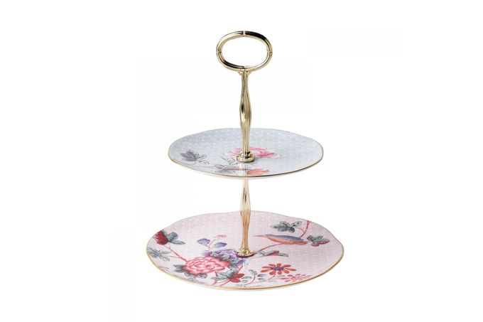 Wedgwood Cuckoo 2 Tier Cake Stand 20cm & 16cm plates 24cm