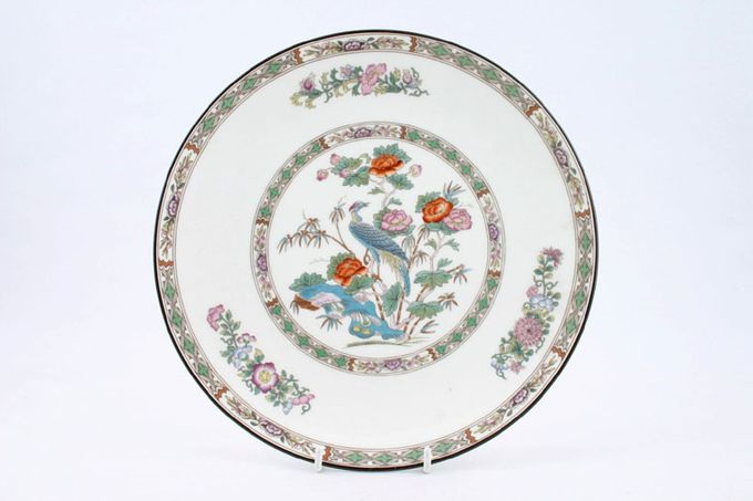 "Wedgwood Kutani Crane - Brown Edge Dinner Plate Flower shades may vary 10 3/4"""