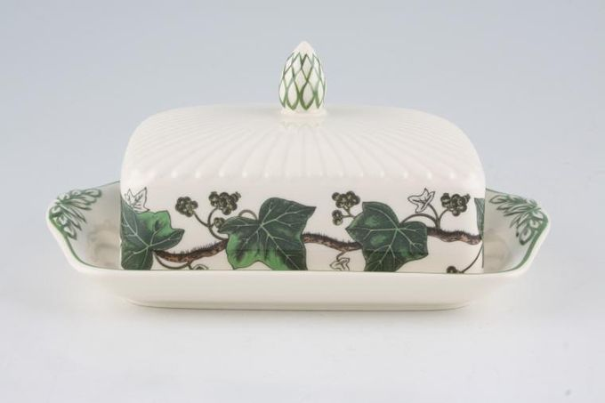 Wedgwood Napoleon Ivy - Green Edge Butter Dish + Lid Oblong