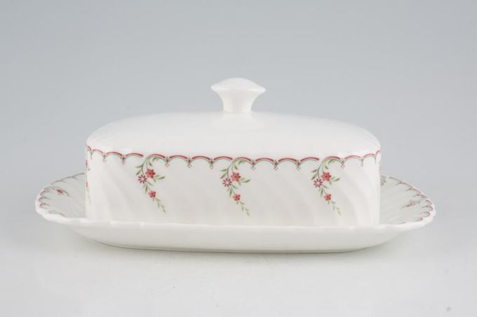 Wedgwood Pink Garland Butter Dish + Lid