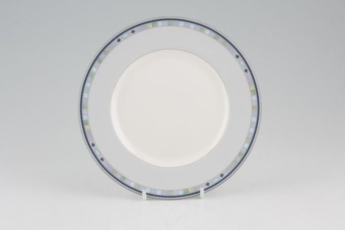 Wedgwood Quadrants Tea / Side / Bread & Butter Plate Accent Blue Rim 7""