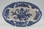 "Wedgwood Asiatic Pheasant - Blue Serving Dish Can be used a s sauce boat stand 8"" thumb 1"