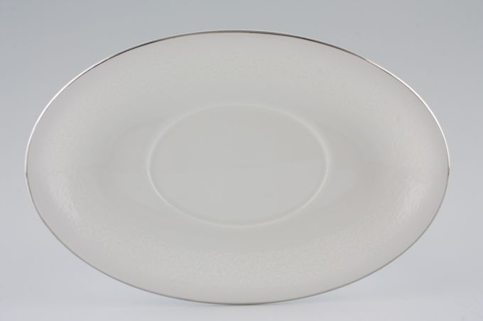 Wedgwood Silver Ermine Sauce Boat Stand Oval Shaped (Contour shape)