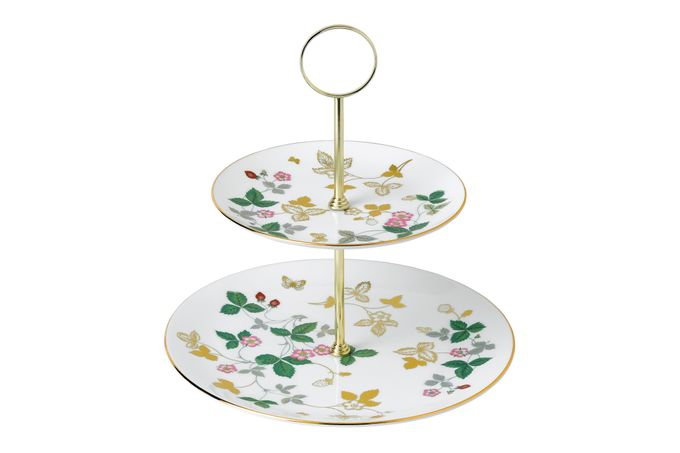 Wedgwood Wild Strawberry 2 Tier Cake Stand Coupe Shape Plates